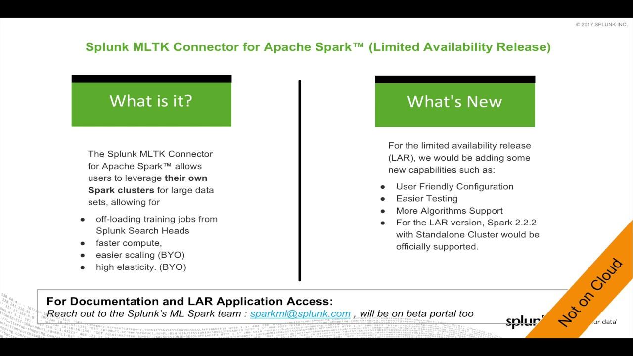 Splunk MLTK Connector for Apache Spark™ (LAR)