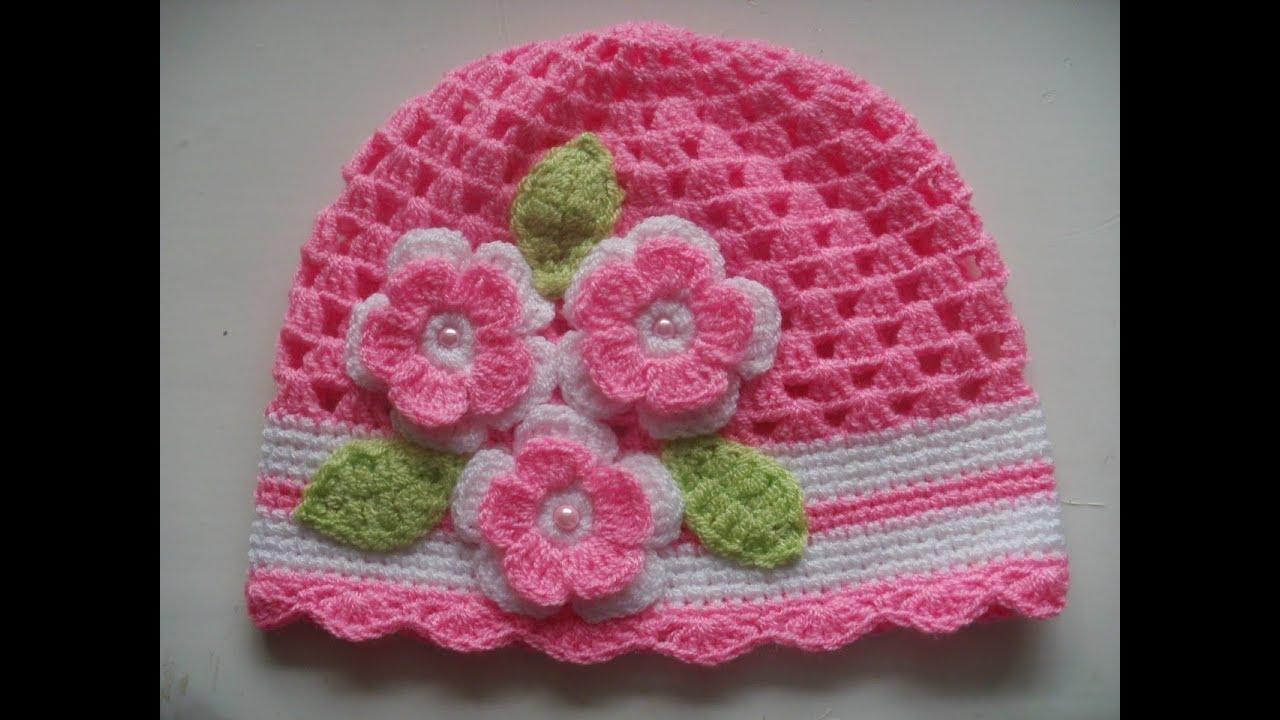 748bda3c8 Gorro tejidos a crochet para bebe de verano - YouTube