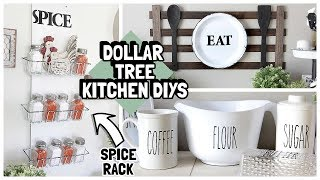 DOLLAR TREE KITCHEN DIYS 2019 | SPICE RACK | RAE DUNN KITCHENWARE