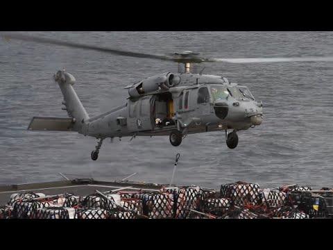 Navy Resupply at Sea - USS John C. Stennis and USNS Wally Schirra