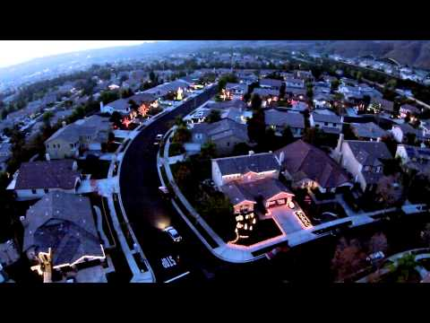 Christmas Light Display as Seen by Drone Wizards in Winter