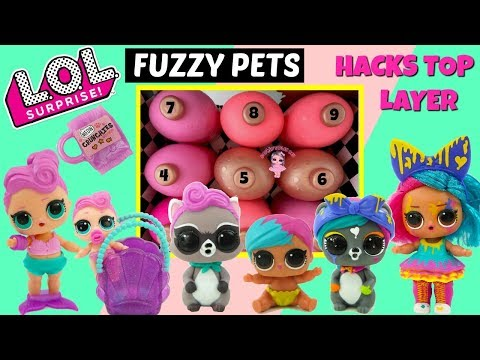 LOL Surprise Fuzzy Pets Placement and Weight Hacks Full Unboxing Top Layer Splatters Family Kids Toy