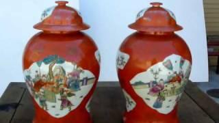 Pair Figures Painting Orange Color Porcelain General Jar / Ginger Jar W448