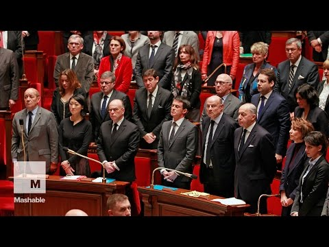 After moment of silence, politicians sing French national anthem to honor attack victims  | Mashable