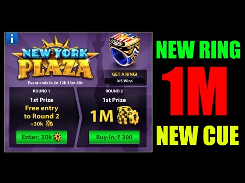 (Limited) 8 Ball Pool 1M New York Plaza Tournament Special + 1st Ring + New Cue With Commentary