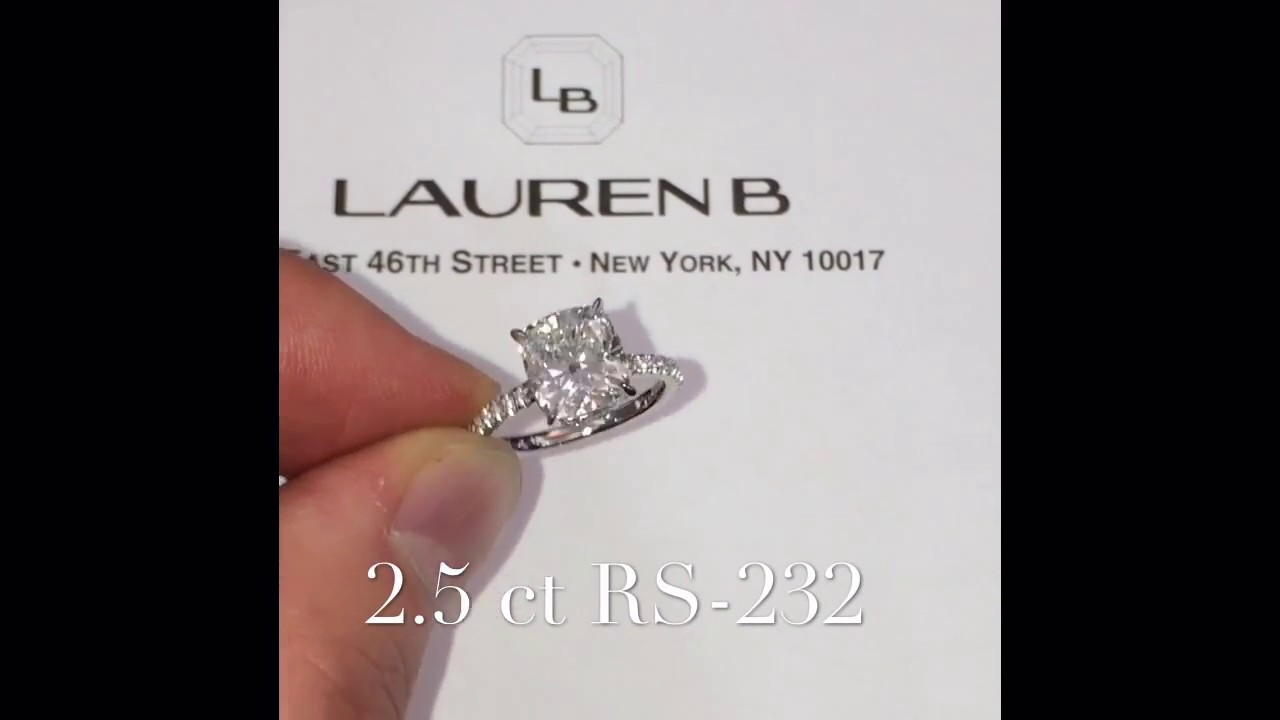 2 50 ct Cushion Cut Diamond Engagement Ring
