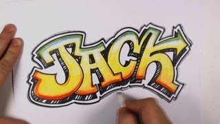 How to Draw Graffiti Letters - Jack in Graffiti Lettering(How to Draw Graffiti Letters - Jack in graffiti lettering with a drop shadow and an outline. Graffiti style lettering flows and connects in interesting ways., 2013-02-03T14:41:28.000Z)