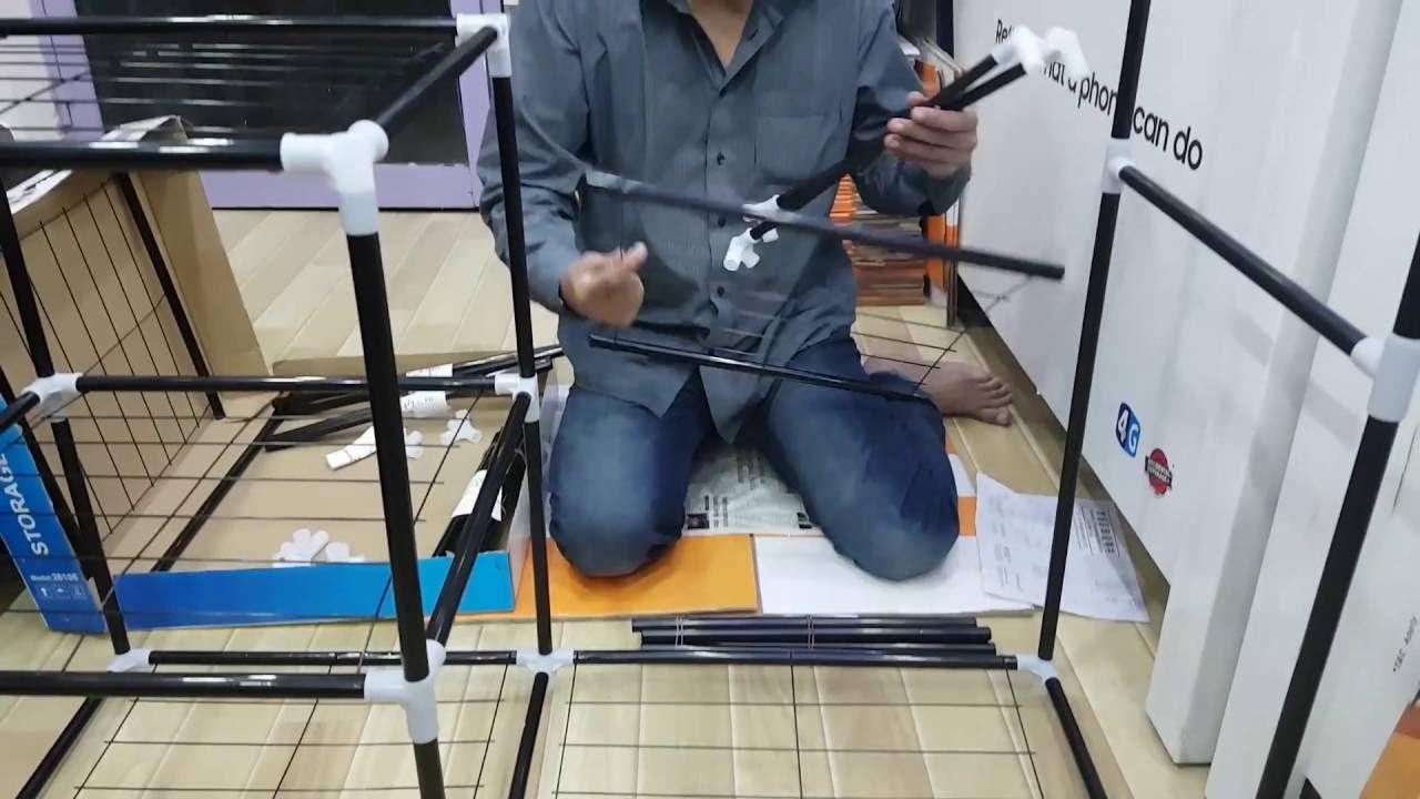 Nadiaz Folding Canvas Wardrobe Assembling Method   YouTube