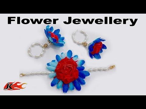 Flower Jewellery   Floral Bracelate and Earrings for haldi, Mehndi, Pool Party   JK Arts 1564