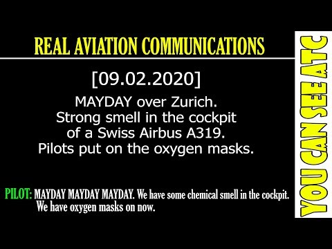 (Real ATC) MAYDAY over Zurich. Strong smell in the cockpit of a Swiss Airbus A319.