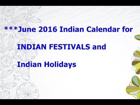 ***{June 2016} Indian Calendar for INDIAN FESTIVALS and {Indian Holidays}