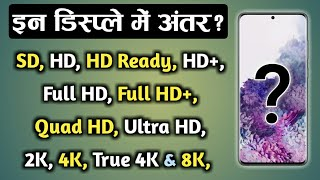 SD Vs HD Vs HD Ready Vs HD+ Vs Full HD Vs Full HD+ Vs QHD Vs 2K Vs UHD Vs 4K Vs 8K Displays