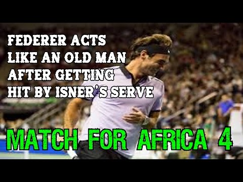 FUNNY!! Federer acts like an old man after getting hit by Isner ● Match For Africa 4 Seattle
