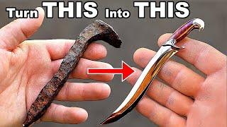 I turn a Rusty Spike into a Perfect Miniature Fighting Knife