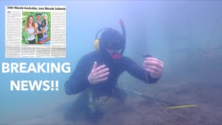RARE Object FIND NEWSPAPER REVEALS ALL!! while Metal Detecting Underwater with 100,000 SUBSCRIBERS!!