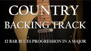 Country Backing Track - Fast 12 bar blues progression in A major.
