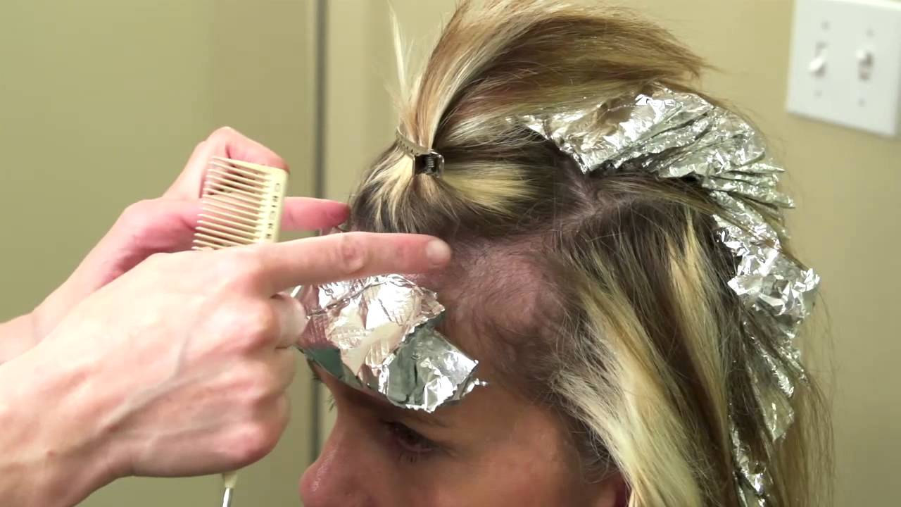 Foil Color Techniques Paint Between Hair Color Youtube