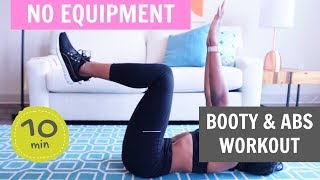 10 MIN BOOTY & AB WORKOUT | Home Workout - No Equipment - Koboko Fitness