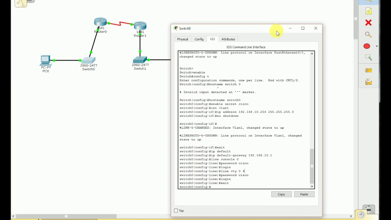 Cisco Packet Tracer Basic Switch configuration