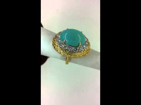 Turquoise and Diamond Ring by Van Cleff & Arpels