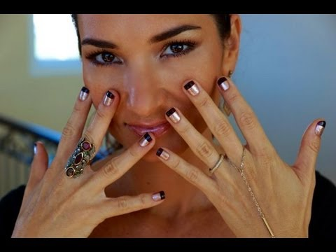 How To Diy Two Tone Nails Nail Art Done Easy Youtube