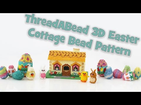 3D Large Easter Bunny Cottage Bead Pattern Ornament