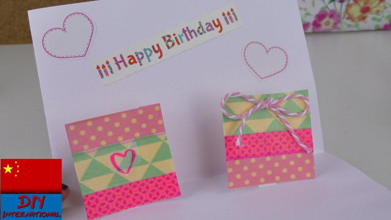 DIY 手工自制 简易 在家 制作 3D 立体 生日 贺卡 祝福卡片 折纸 纸艺 展示