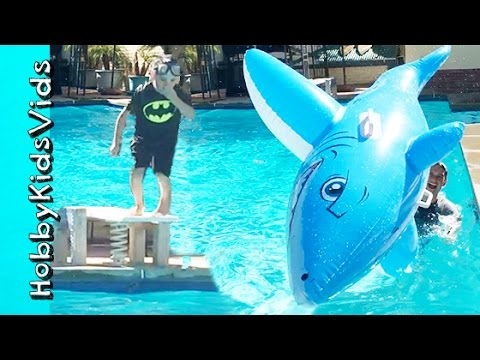 Pool FLIPS! Cannon Ball Dives + Summer Pool Party Family Fun HobbyKidsVids