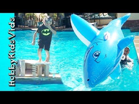 FLIPS! Cannon Ball Dives + Summer Party Family Fun HobbyKidsVids