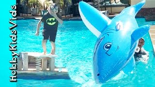 pool flips cannon ball dives summer pool party family fun hobbykidsvids