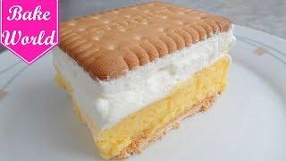 Butterkeks Kuchen - Butterkeks Torte / Kekskuchen | ohne backen