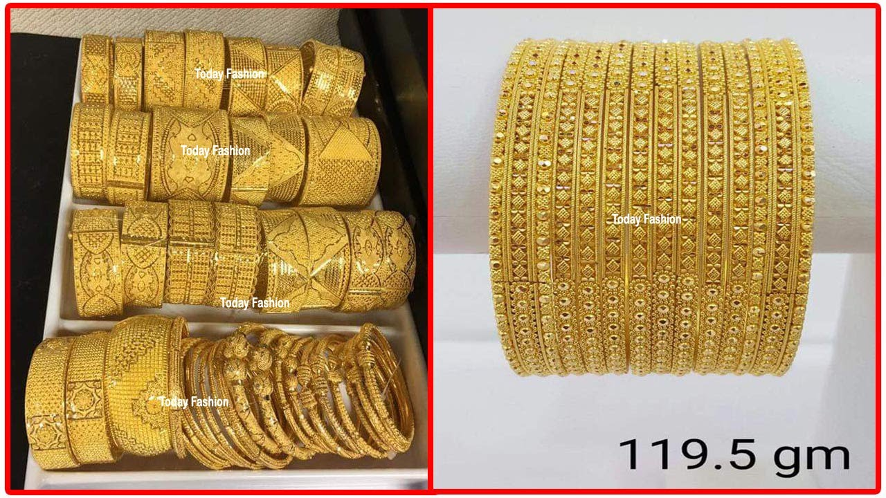 Latest Light Weight Gold Bangle set designs | New Trendy gold bangles designs with weight