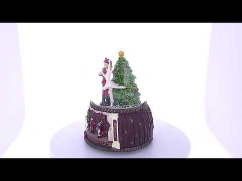 Nutcracker and Ballerina Dancing Around Christmas Tree Music Snow Globe