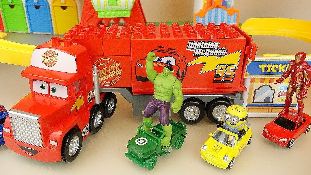 Cars truck and super heroes car toys park play