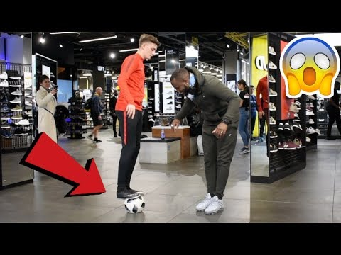 CRAZY PUBLIC NUTMEGS IN JD SPORTS !? (FOOTBALL CHALLENGE)