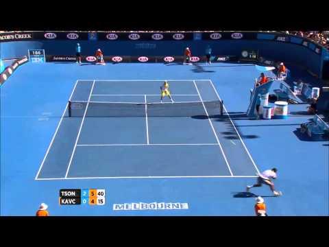 Australian Open 2013 Jo-Wilfried Tsonga - Blaz Kavcic amaizing match point