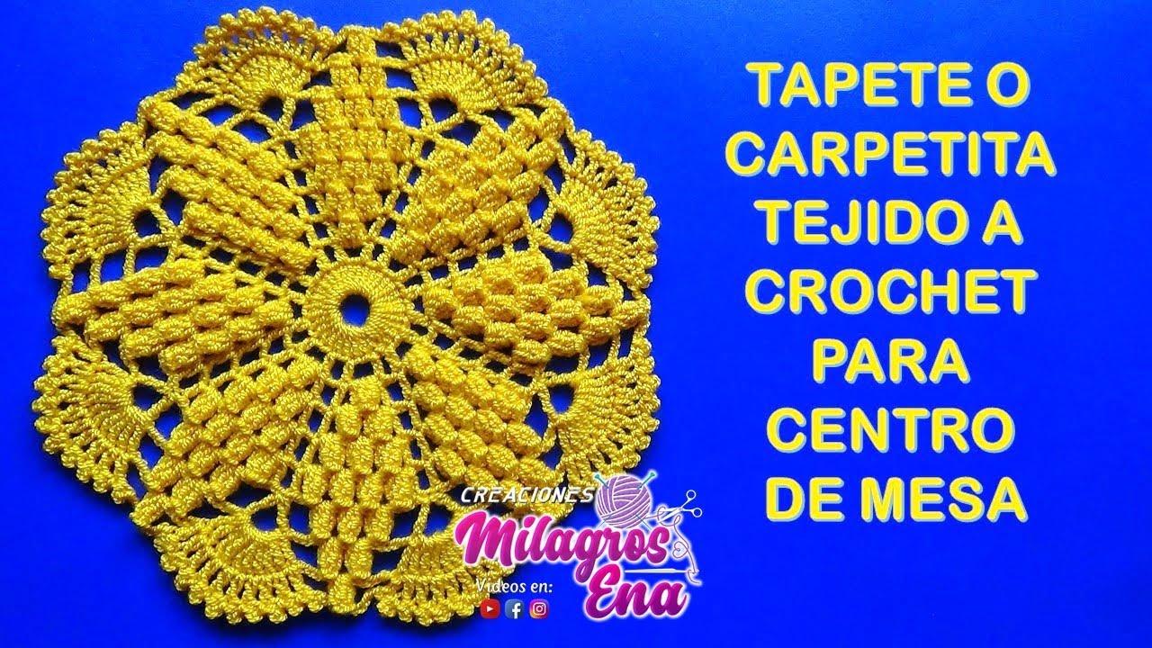 Tapete o carpeta tejido a crochet ESTRELLA EN PUNTO POPCORN para ...