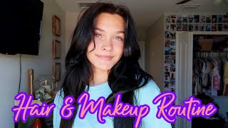 MY HIGH SCHOOL HAIR AND MAKEUP ROUTINE! EMMA AND ELLIE