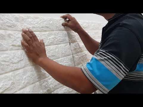 Cara pemasangan wallpaper foam 3d motif batu bata