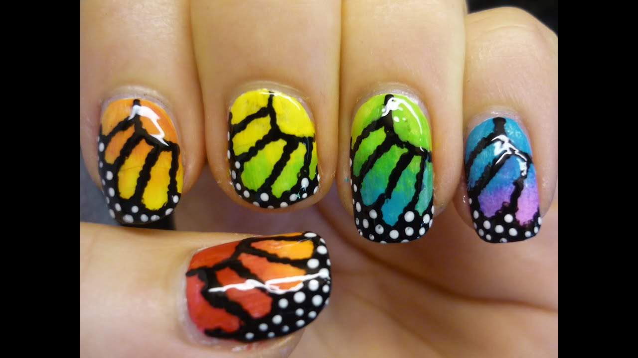 Rainbow Monarch Butterfly Nail Art Tutorial Youtube