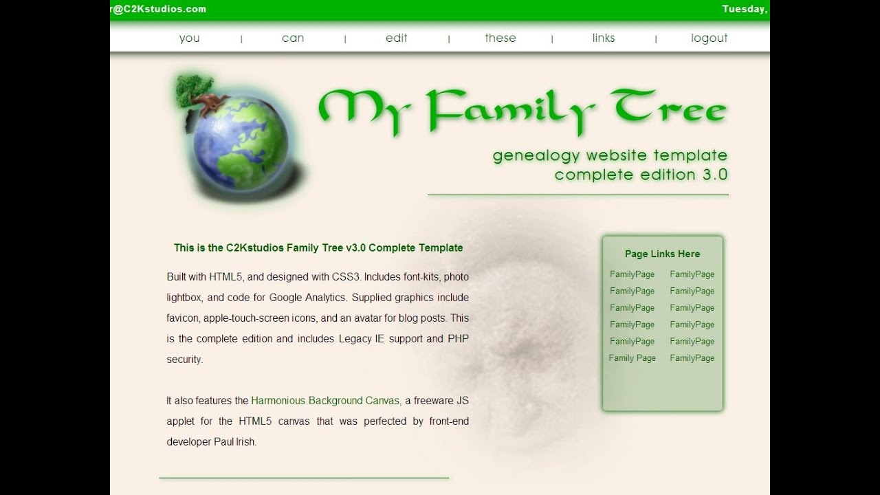 My Family Tree HTML5 Genealogy Website Template 3.0 - YouTube