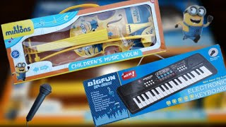 NEW MINIONS VIOLIN BIG FUN ELECTRONIC KEYBOARD REVIEW AND UNBOXING INDIAN TOY STORE