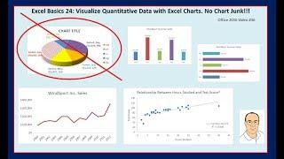 Excel Basics 24: Excel Charts & Graphs to Visualize Quantitative Data. No Chart Junk!!!