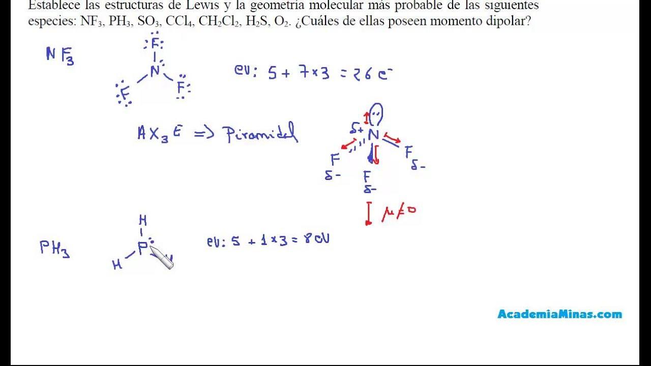Estructuras De Lewis Geometría Y Polaridad De Nf3 Ph3 So3 Ccl4 Ch2cl2 H2s O2