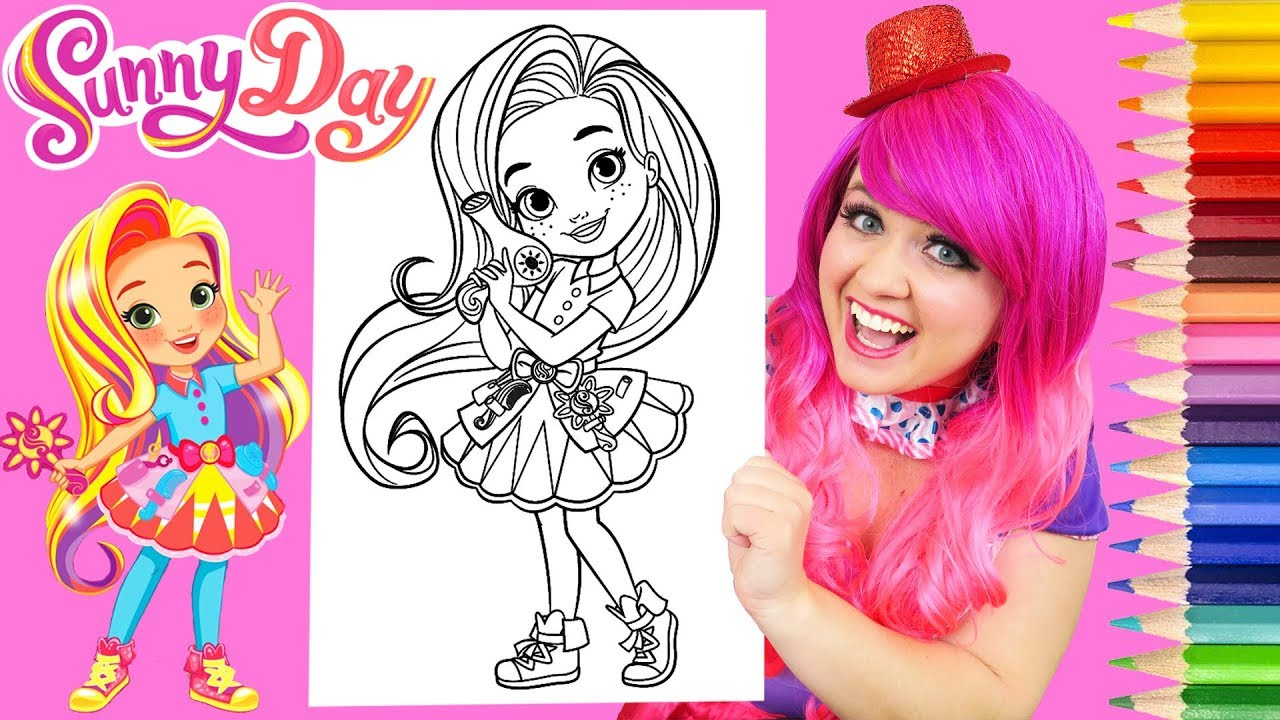 coloring sunny day hairstylist coloring book page prismacolor colored pencils kimmi the clown