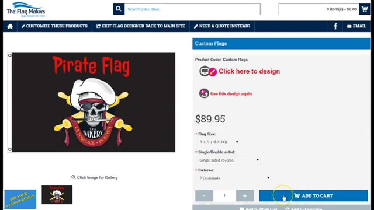How to custom design a pirate flag online by The Flag Makers LLC