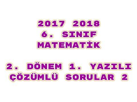 6. Sınıf Matematik 2. Dönem 1. Yazılı ÖRNEK 2