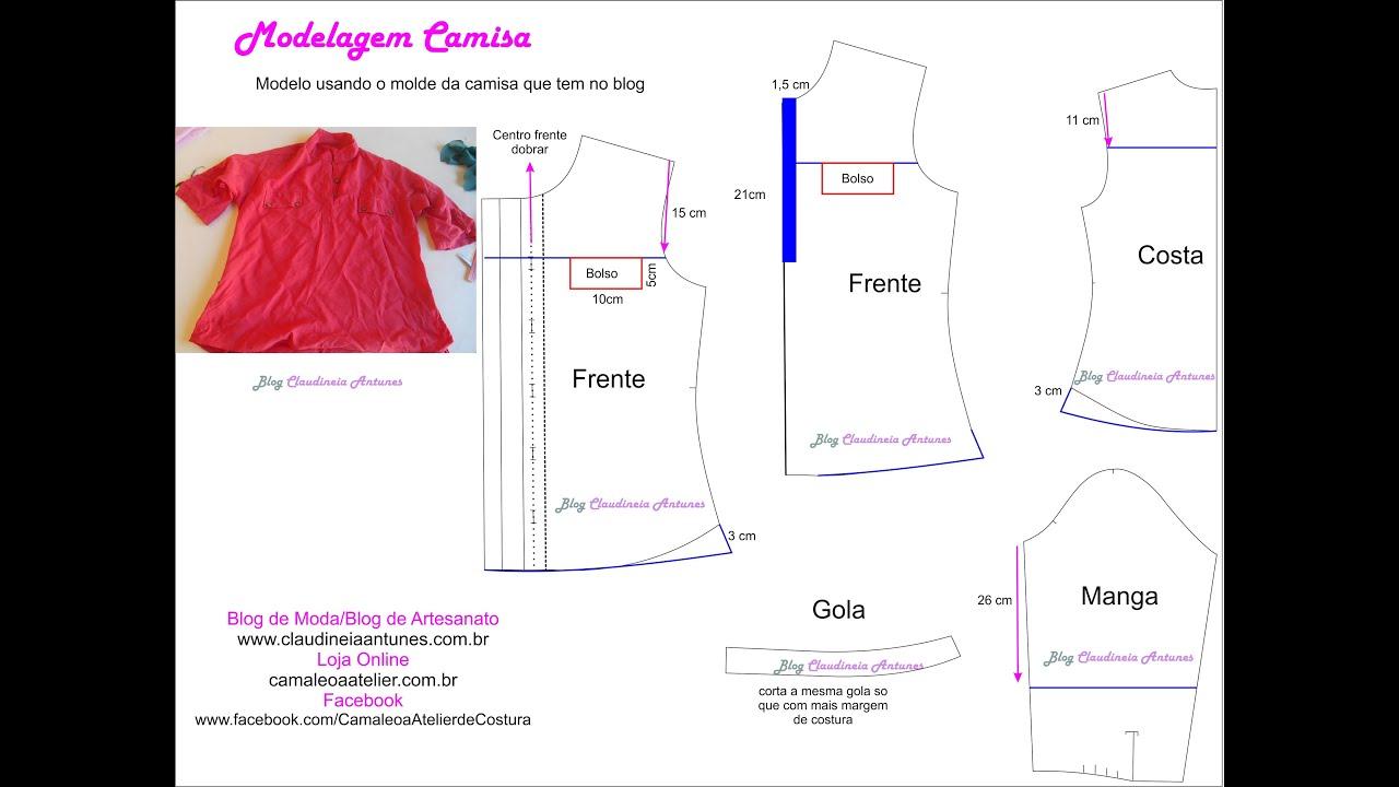 15da1ef750 Modelagem Camisa Feminina- Adaptação de Modelo - YouTube