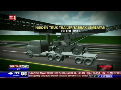 Insiden Trailer Tabrak Jembatan di BSD Dalam Grafis