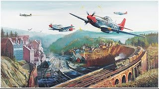 Dogfight.Curtiss P-40 Attacking German airport